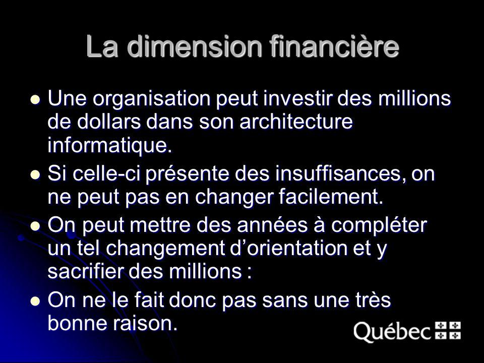 La dimension financière Une organisation peut investir des millions de dollars dans son architecture informatique. Une organisation peut investir des