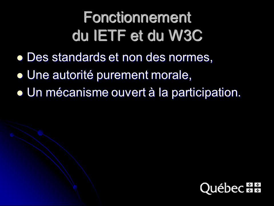 Fonctionnement du IETF et du W3C Des standards et non des normes, Des standards et non des normes, Une autorité purement morale, Une autorité purement morale, Un mécanisme ouvert à la participation.
