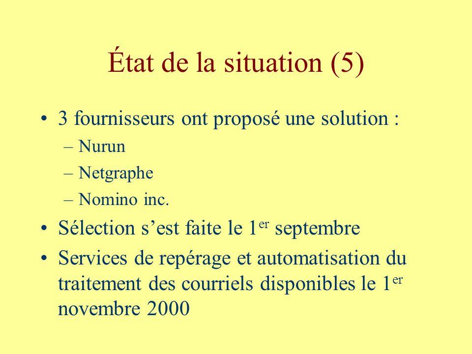 État de la situation (5) 3 fournisseurs ont proposé une solution : –Nurun –Netgraphe –Nomino inc.