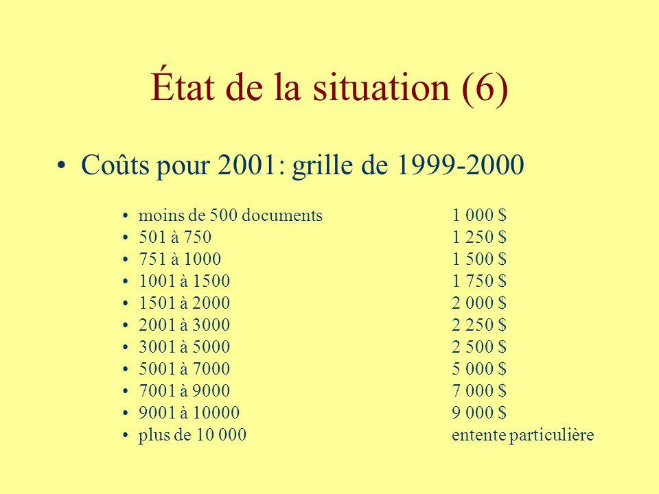 État de la situation (6) Coûts pour 2001: grille de 1999-2000 moins de 500 documents1 000 $ 501 à 7501 250 $ 751 à 10001 500 $ 1001 à 15001 750 $ 1501 à 20002 000 $ 2001 à 30002 250 $ 3001 à 50002 500 $ 5001 à 70005 000 $ 7001 à 90007 000 $ 9001 à 100009 000 $ plus de 10 000entente particulière