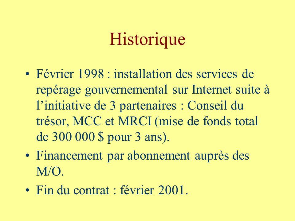 Historique Février 1998 : installation des services de repérage gouvernemental sur Internet suite à linitiative de 3 partenaires : Conseil du trésor, MCC et MRCI (mise de fonds total de 300 000 $ pour 3 ans).