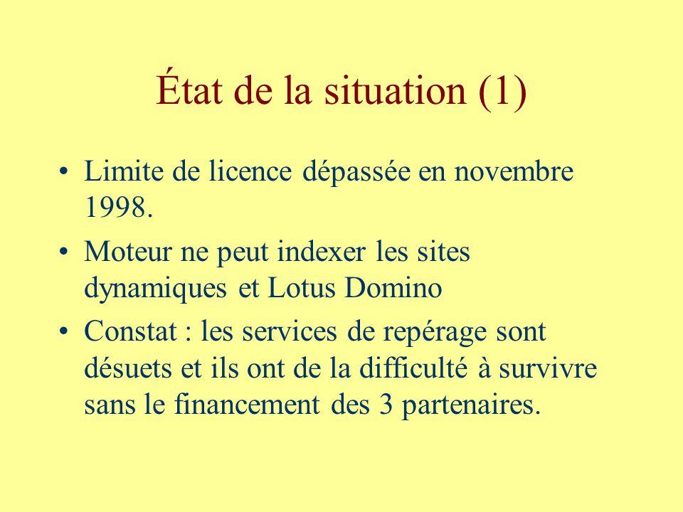 État de la situation (1) Limite de licence dépassée en novembre 1998.