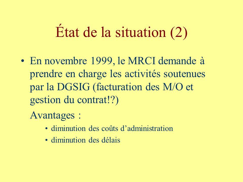 État de la situation (2) En novembre 1999, le MRCI demande à prendre en charge les activités soutenues par la DGSIG (facturation des M/O et gestion du contrat!?) Avantages : diminution des coûts dadministration diminution des délais