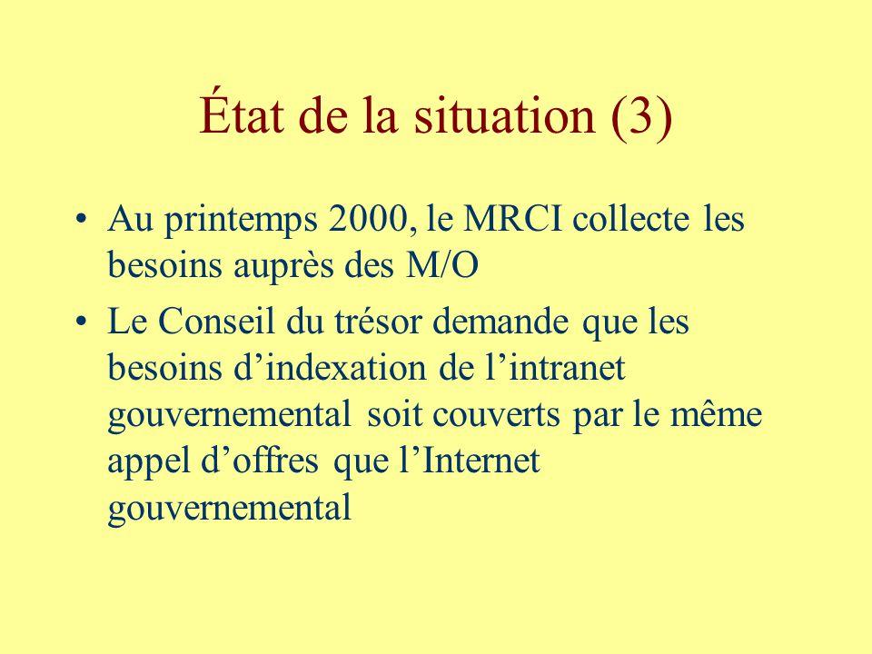 État de la situation (3) Au printemps 2000, le MRCI collecte les besoins auprès des M/O Le Conseil du trésor demande que les besoins dindexation de lintranet gouvernemental soit couverts par le même appel doffres que lInternet gouvernemental
