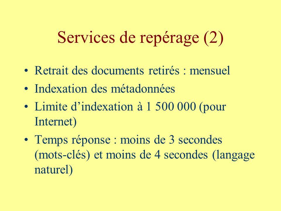 Services de repérage (2) Retrait des documents retirés : mensuel Indexation des métadonnées Limite dindexation à 1 500 000 (pour Internet) Temps réponse : moins de 3 secondes (mots-clés) et moins de 4 secondes (langage naturel)