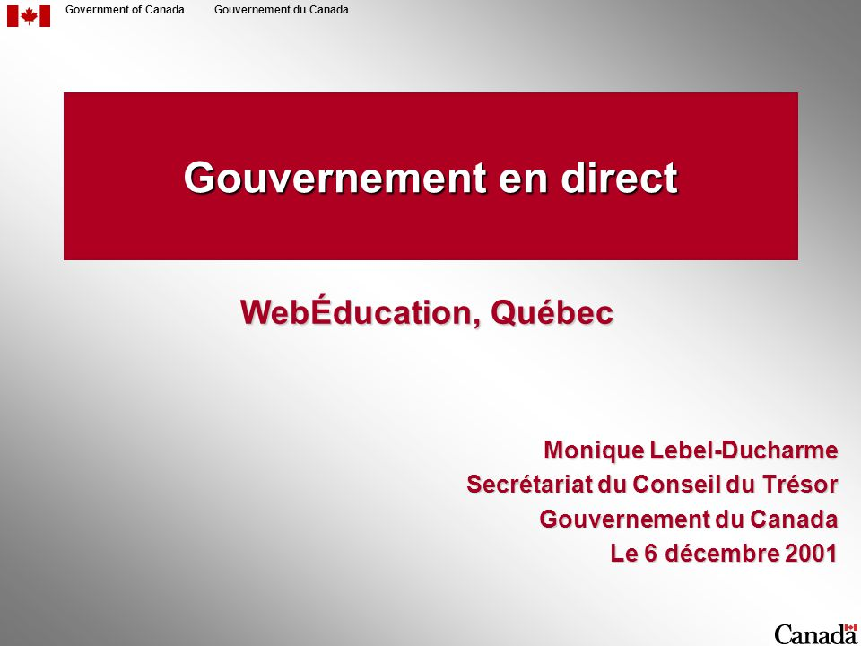 22 Government of CanadaGouvernement du Canada