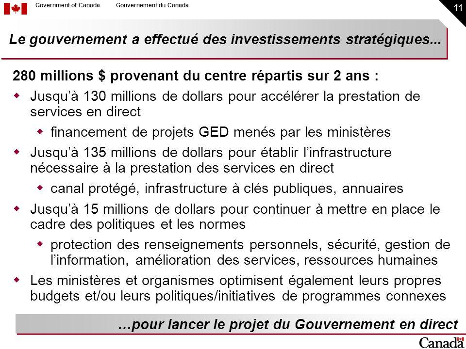 11 Government of CanadaGouvernement du Canada 280 millions $ provenant du centre répartis sur 2 ans : Jusquà 130 millions de dollars pour accélérer la