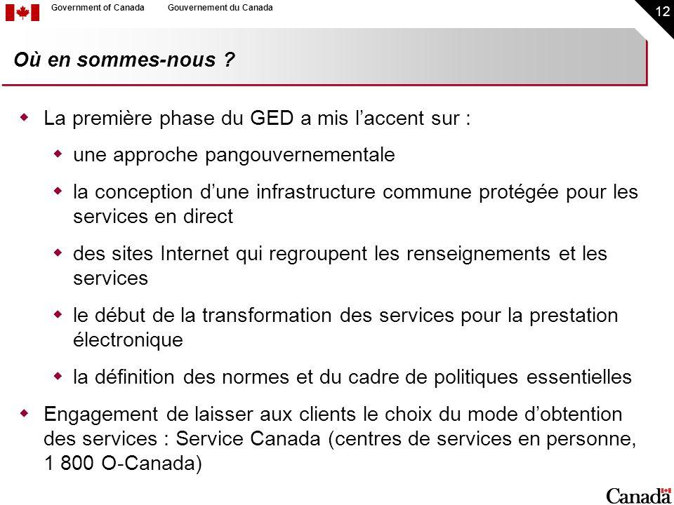 12 Government of CanadaGouvernement du Canada Où en sommes-nous ? La première phase du GED a mis laccent sur : une approche pangouvernementale la conc