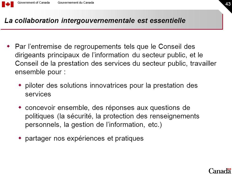 43 Government of CanadaGouvernement du Canada La collaboration intergouvernementale est essentielle Par lentremise de regroupements tels que le Consei