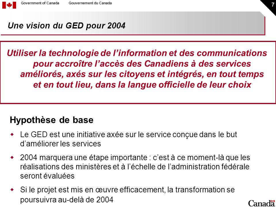 7 Government of CanadaGouvernement du Canada Une vision du GED pour 2004 Utiliser la technologie de linformation et des communications pour accroître