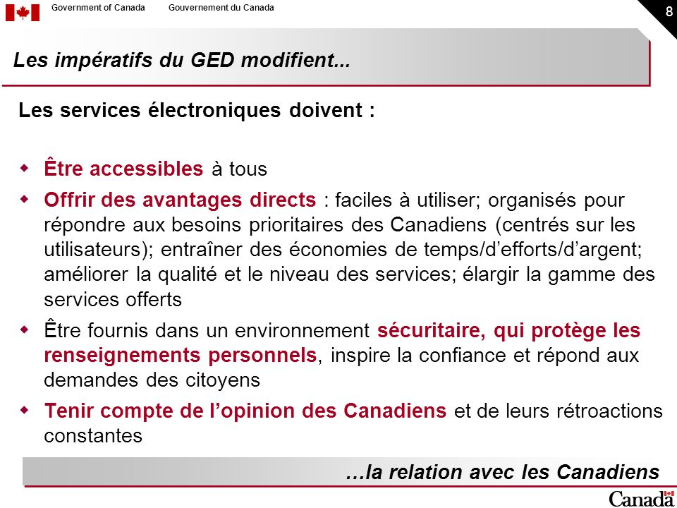 19 Government of CanadaGouvernement du Canada