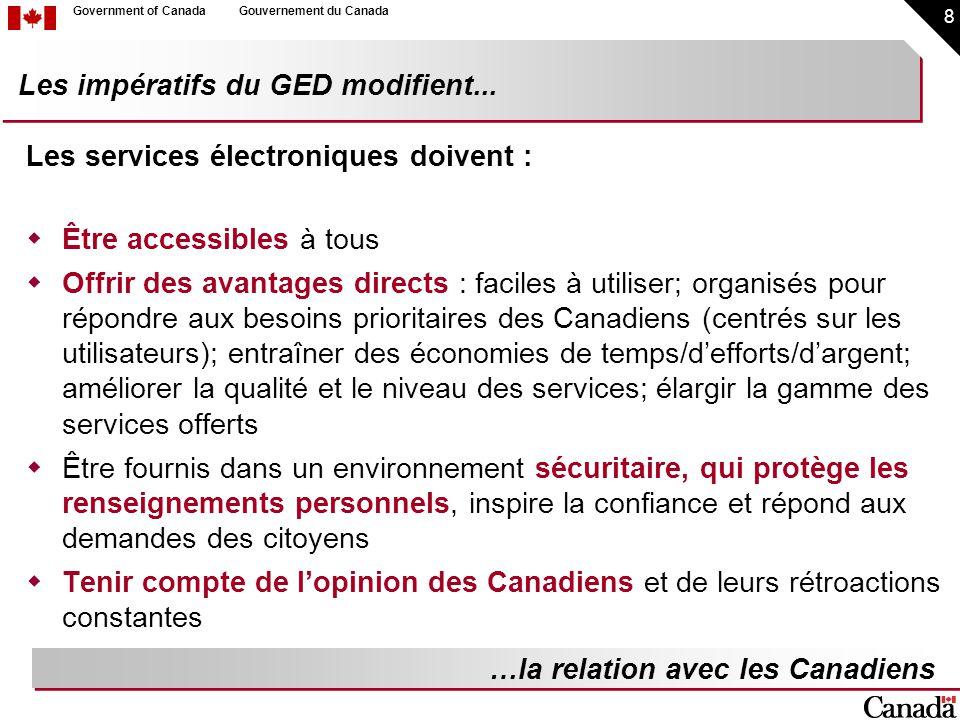 8 Government of CanadaGouvernement du Canada Les services électroniques doivent : Être accessibles à tous Offrir des avantages directs : faciles à uti
