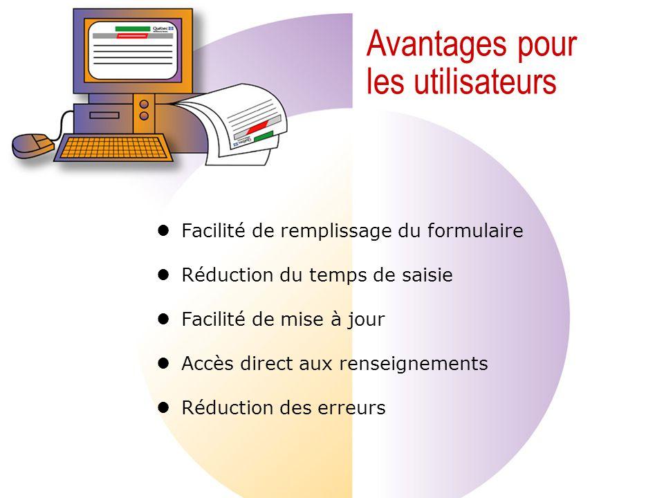 Avantages pour les utilisateurs Facilité de remplissage du formulaire Réduction du temps de saisie Facilité de mise à jour Accès direct aux renseignements Réduction des erreurs