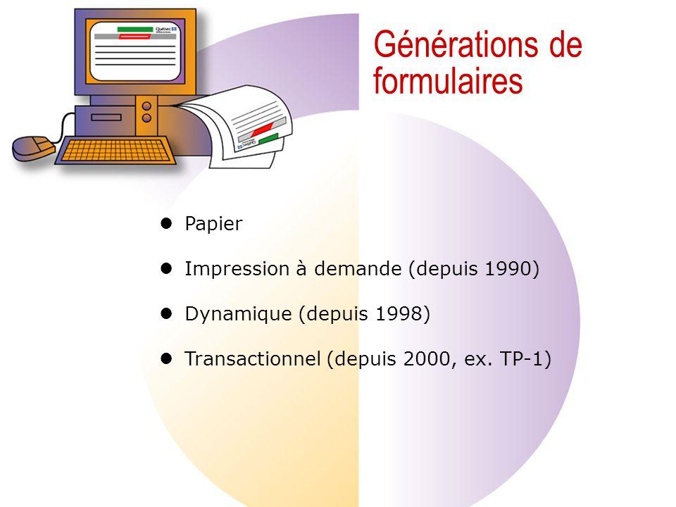 Générations de formulaires Papier Impression à demande (depuis 1990) Dynamique (depuis 1998) Transactionnel (depuis 2000, ex.