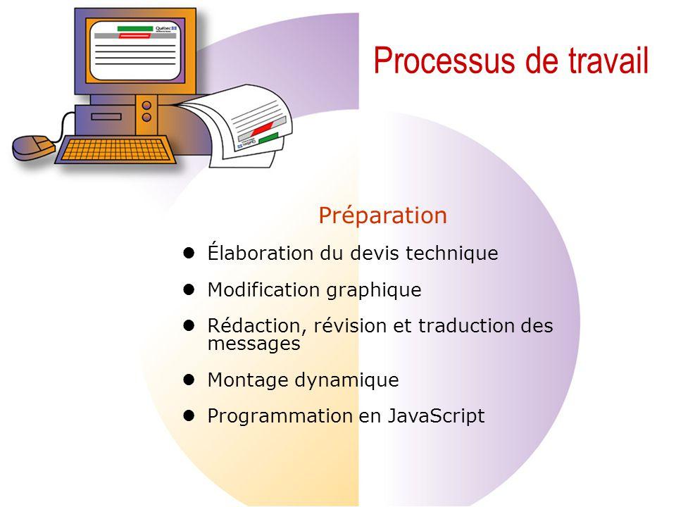 Processus de travail Préparation Élaboration du devis technique Modification graphique Rédaction, révision et traduction des messages Montage dynamique Programmation en JavaScript