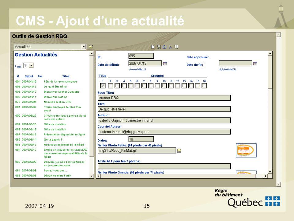 2007-04-1915 CMS - Ajout dune actualité