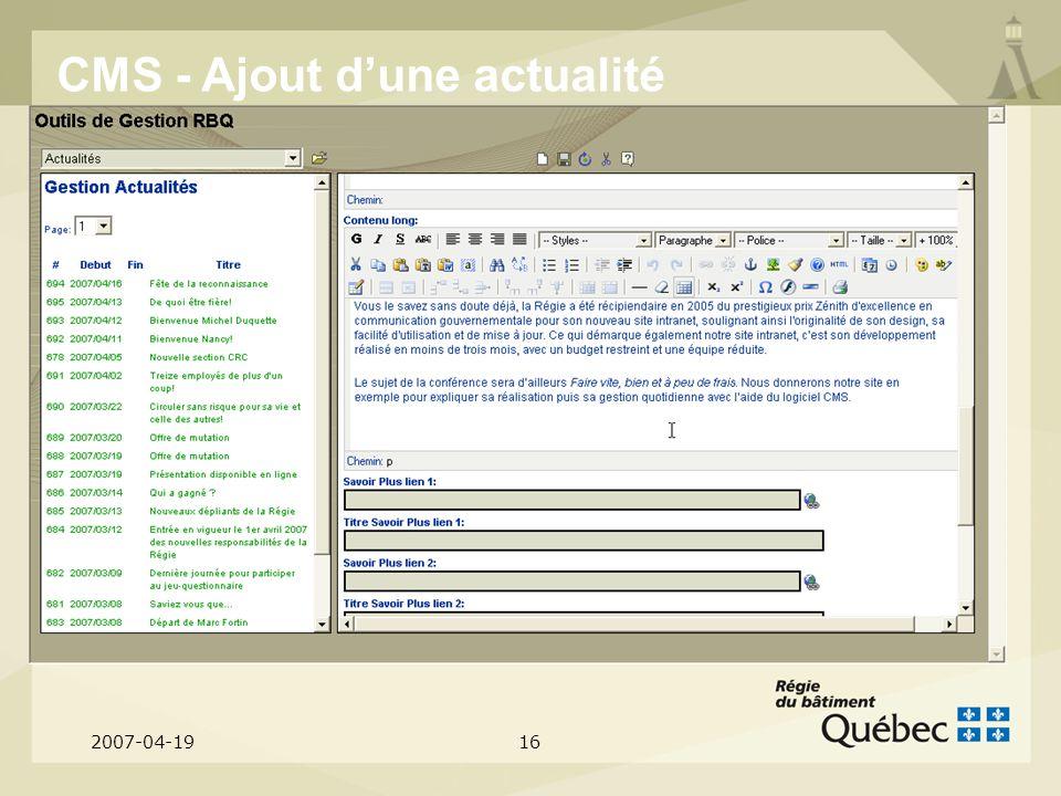 2007-04-1916 CMS - Ajout dune actualité