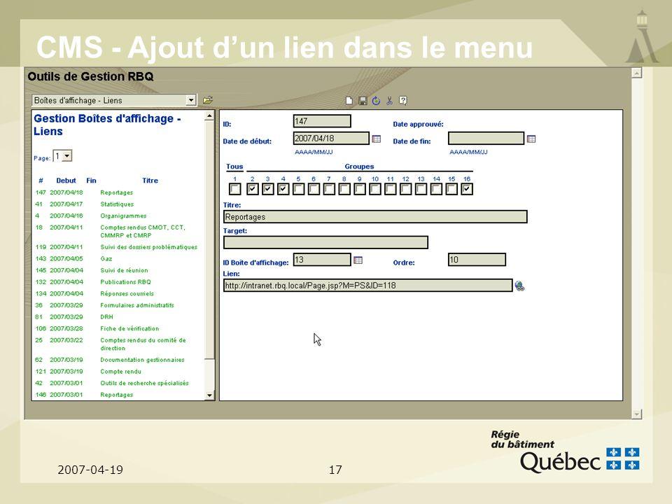 2007-04-1917 CMS - Ajout dun lien dans le menu