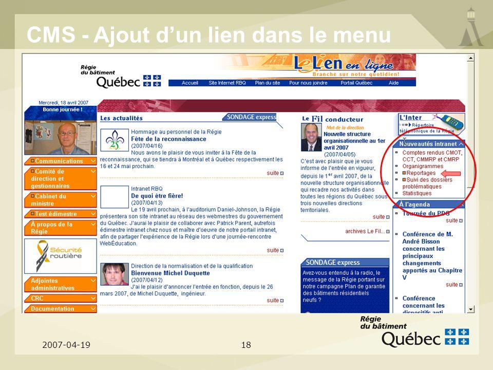 2007-04-1918 CMS - Ajout dun lien dans le menu