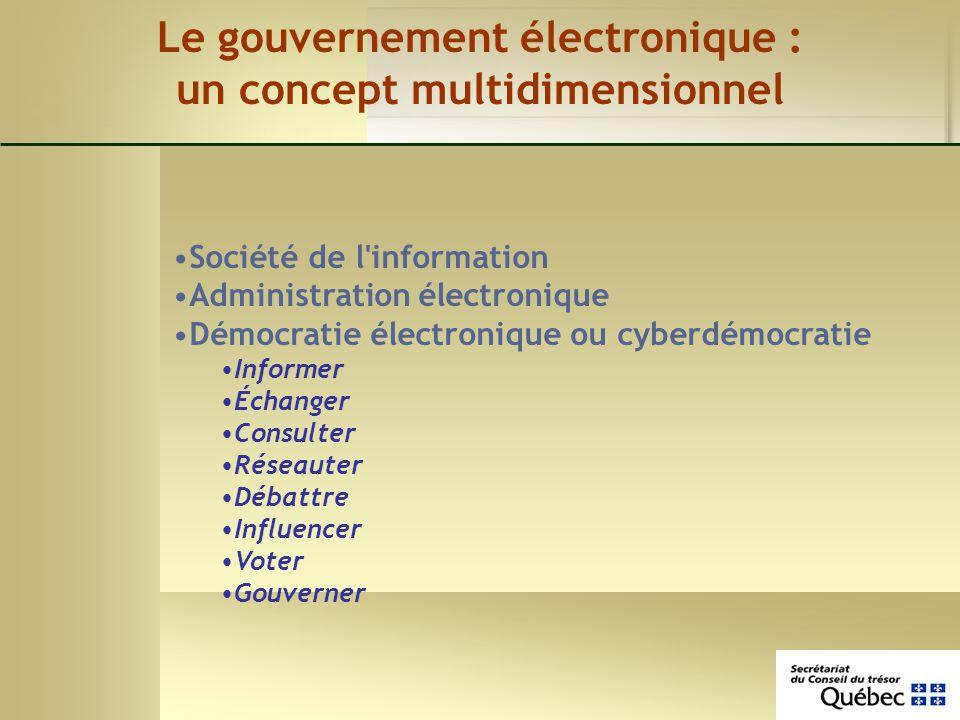 Le gouvernement électronique : un concept multidimensionnel Société de l'information Administration électronique Démocratie électronique ou cyberdémoc