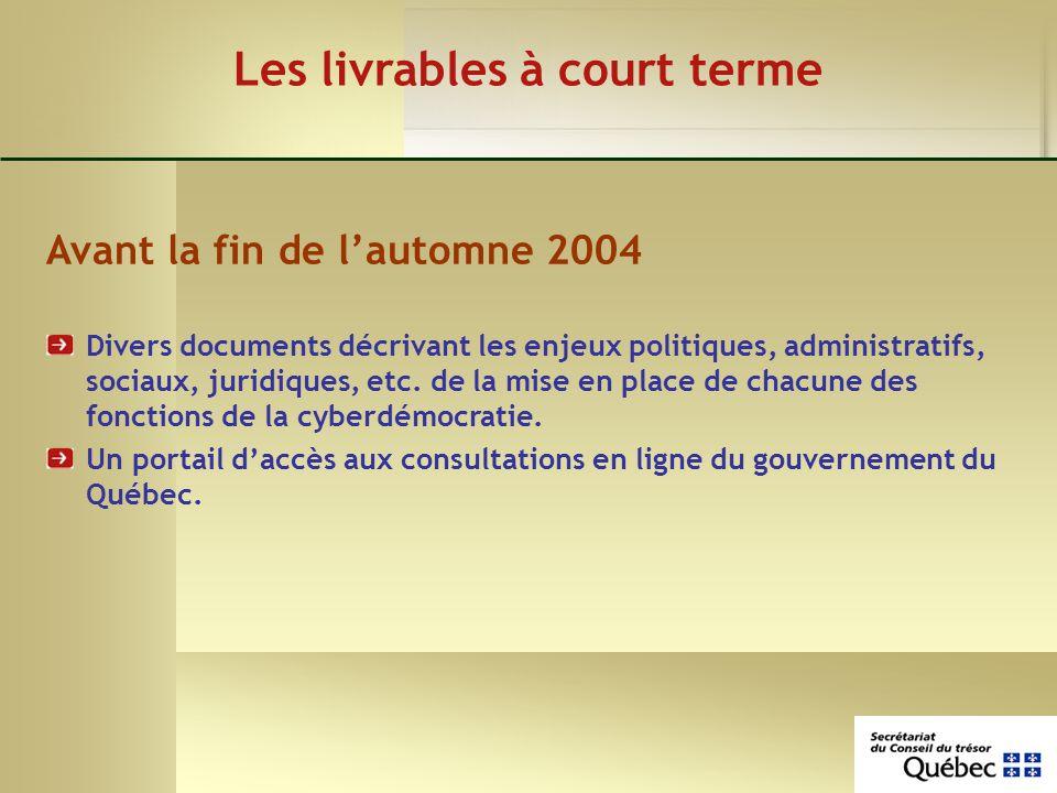 Les livrables à court terme Avant la fin de lautomne 2004 Divers documents décrivant les enjeux politiques, administratifs, sociaux, juridiques, etc.