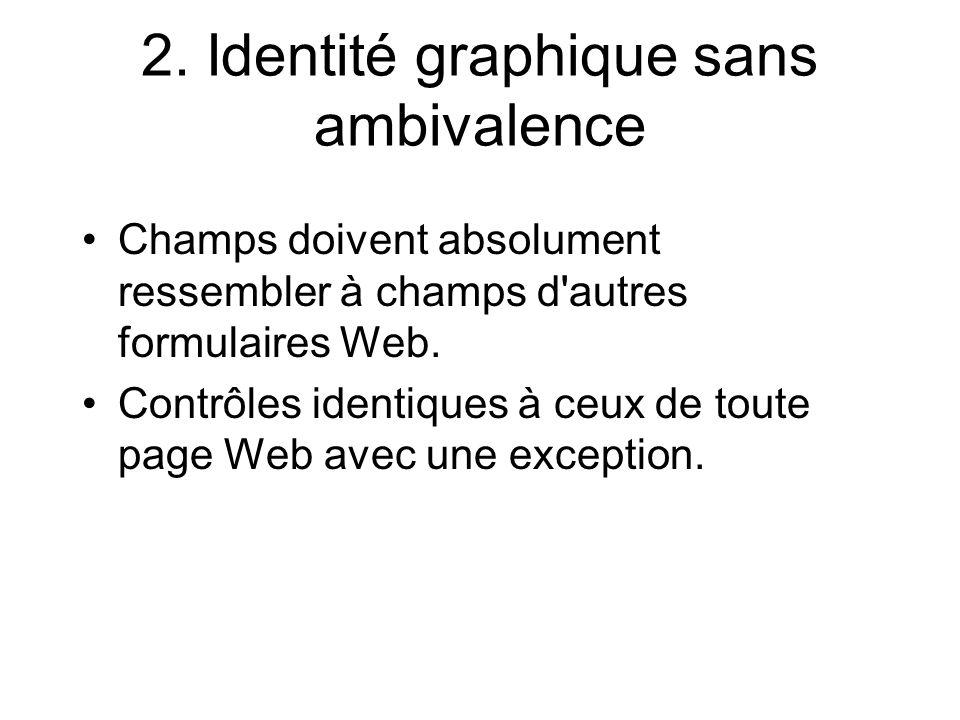 2. Identité graphique sans ambivalence Champs doivent absolument ressembler à champs d'autres formulaires Web. Contrôles identiques à ceux de toute pa
