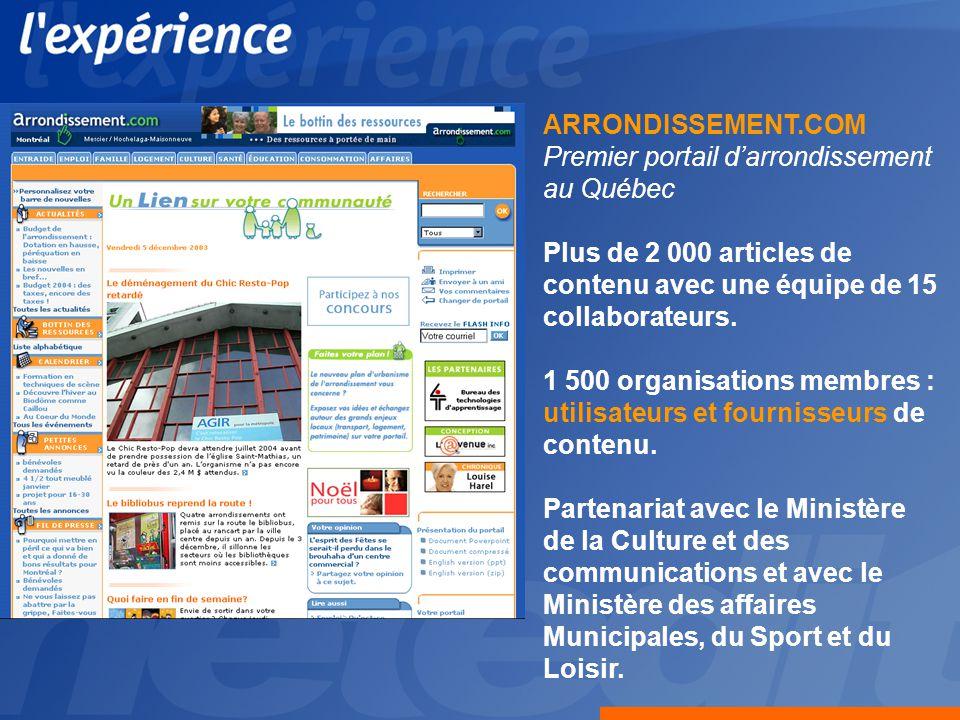 ARRONDISSEMENT.COM Premier portail darrondissement au Québec Plus de 2 000 articles de contenu avec une équipe de 15 collaborateurs.