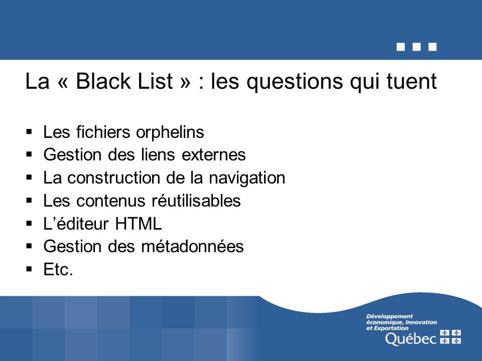 La « Black List » : les questions qui tuent Les fichiers orphelins Gestion des liens externes La construction de la navigation Les contenus réutilisables Léditeur HTML Gestion des métadonnées Etc.