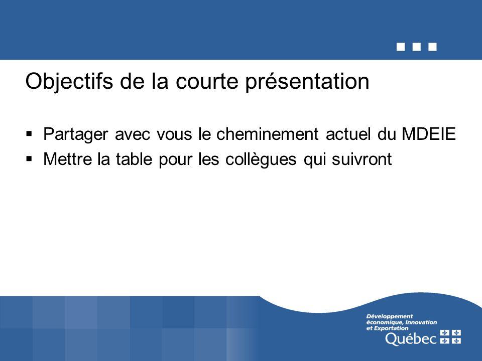 Objectifs de la courte présentation Partager avec vous le cheminement actuel du MDEIE Mettre la table pour les collègues qui suivront