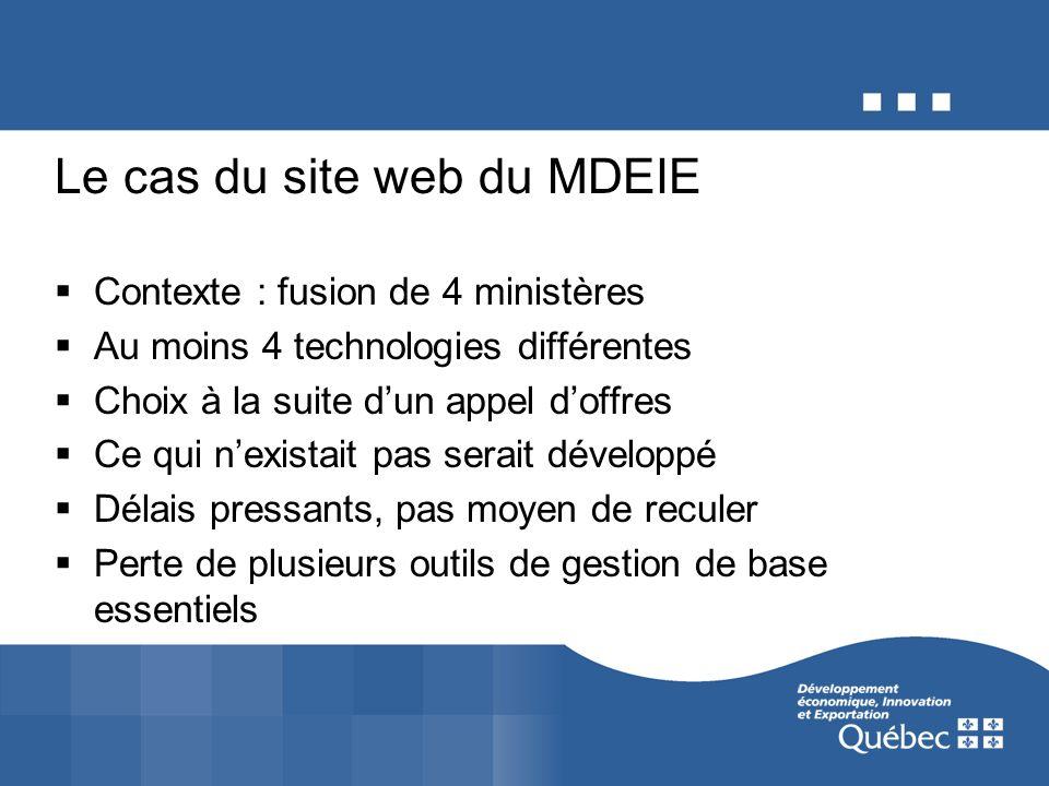 Le cas du site web du MDEIE Contexte : fusion de 4 ministères Au moins 4 technologies différentes Choix à la suite dun appel doffres Ce qui nexistait