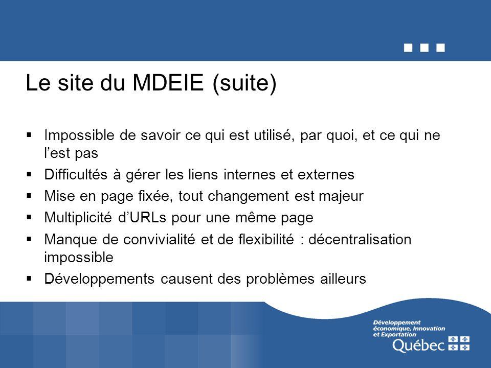 Le site du MDEIE (suite) Impossible de savoir ce qui est utilisé, par quoi, et ce qui ne lest pas Difficultés à gérer les liens internes et externes M