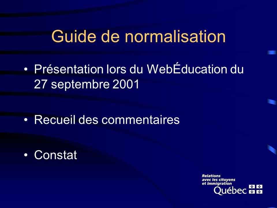 Guide de normalisation Présentation lors du WebÉducation du 27 septembre 2001 Recueil des commentaires Constat