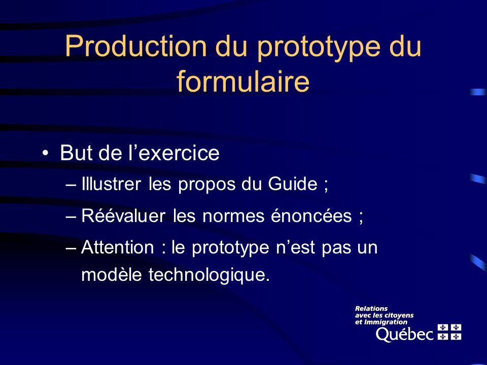 Production du prototype du formulaire But de lexercice –Illustrer les propos du Guide ; –Réévaluer les normes énoncées ; –Attention : le prototype nest pas un modèle technologique.