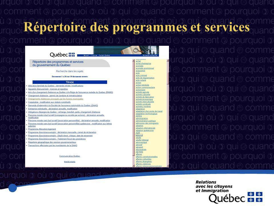 Répertoire des programmes et services