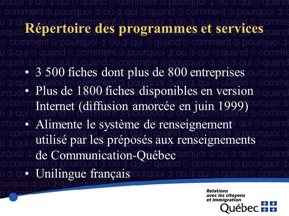 3 500 fiches dont plus de 800 entreprises Plus de 1800 fiches disponibles en version Internet (diffusion amorcée en juin 1999) Alimente le système de renseignement utilisé par les préposés aux renseignements de Communication-Québec Unilingue français