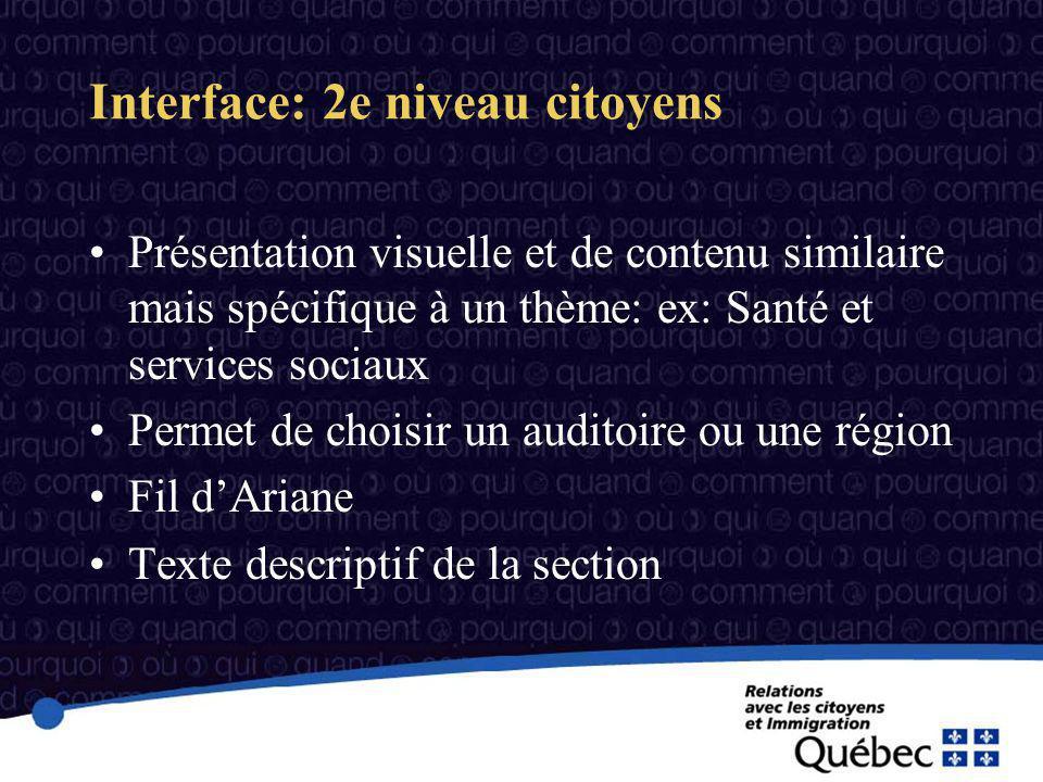 Interface: 2e niveau citoyens Présentation visuelle et de contenu similaire mais spécifique à un thème: ex: Santé et services sociaux Permet de choisir un auditoire ou une région Fil dAriane Texte descriptif de la section