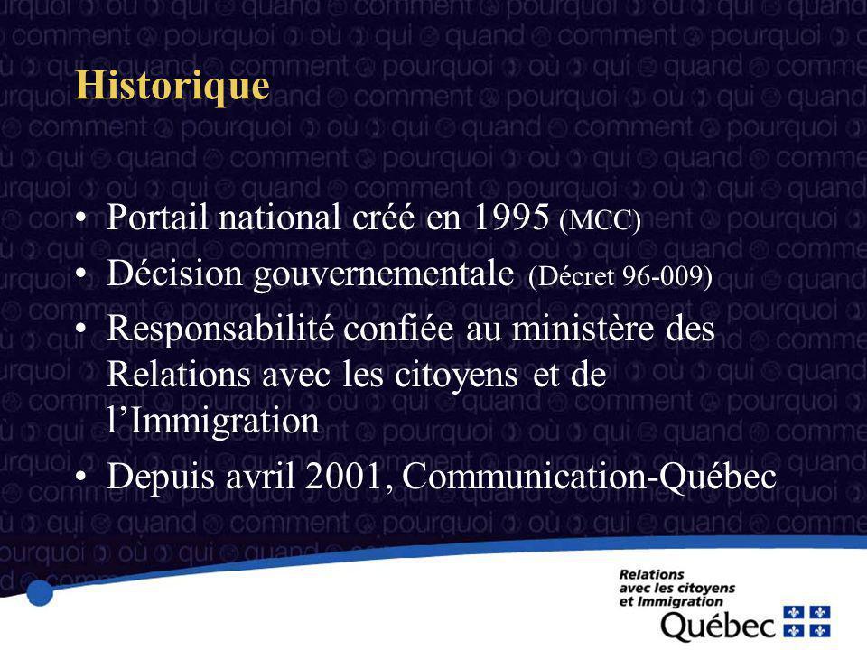 Historique Portail national créé en 1995 (MCC) Décision gouvernementale (Décret 96-009) Responsabilité confiée au ministère des Relations avec les citoyens et de lImmigration Depuis avril 2001, Communication-Québec