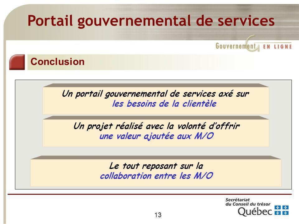 13 Portail gouvernemental de services Conclusion Un portail gouvernemental de services axé sur les besoins de la clientèle Un projet réalisé avec la v
