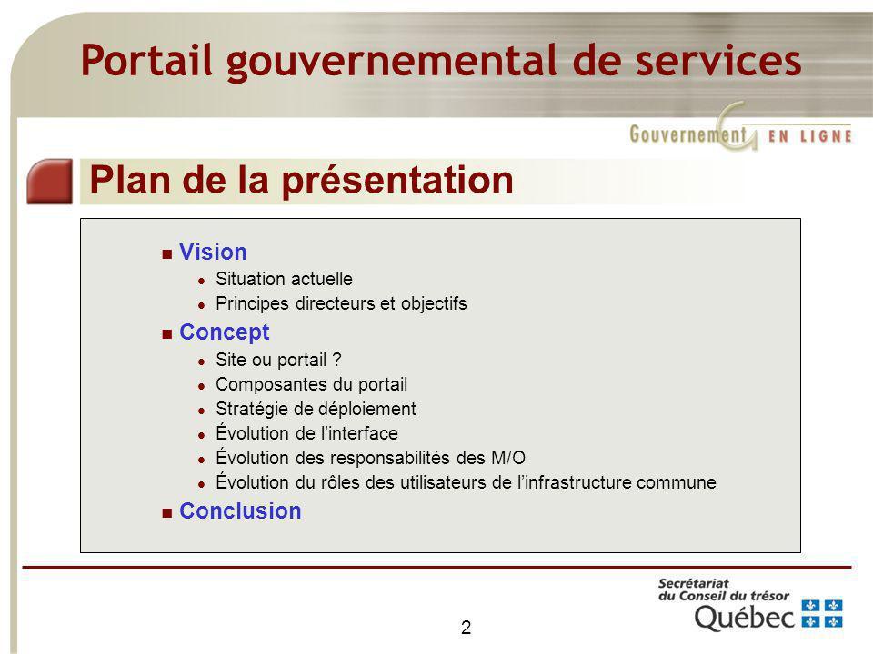 2 Vision Situation actuelle Principes directeurs et objectifs Concept Site ou portail ? Composantes du portail Stratégie de déploiement Évolution de l