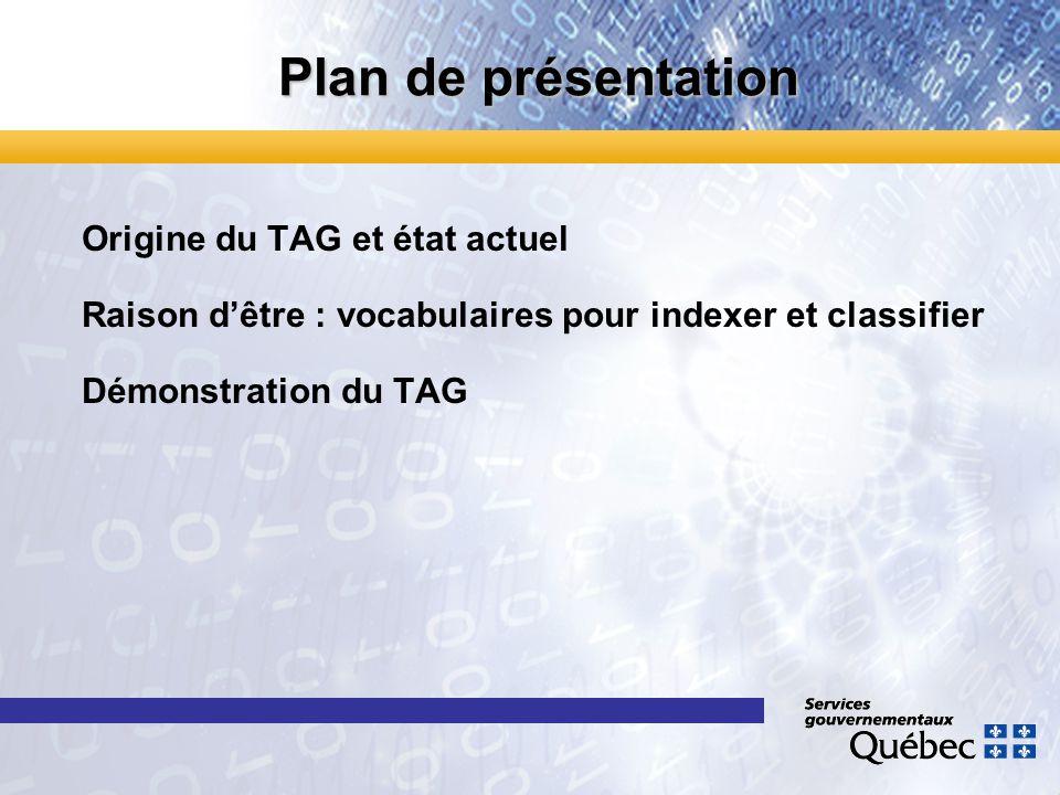 Plan de présentation Origine du TAG et état actuel Raison dêtre : vocabulaires pour indexer et classifier Démonstration du TAG