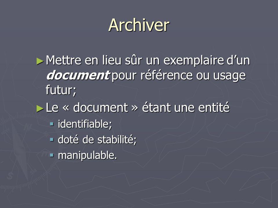 Archiver Mettre en lieu sûr un exemplaire dun document pour référence ou usage futur; Mettre en lieu sûr un exemplaire dun document pour référence ou usage futur; Le « document » étant une entité Le « document » étant une entité identifiable; identifiable; doté de stabilité; doté de stabilité; manipulable.