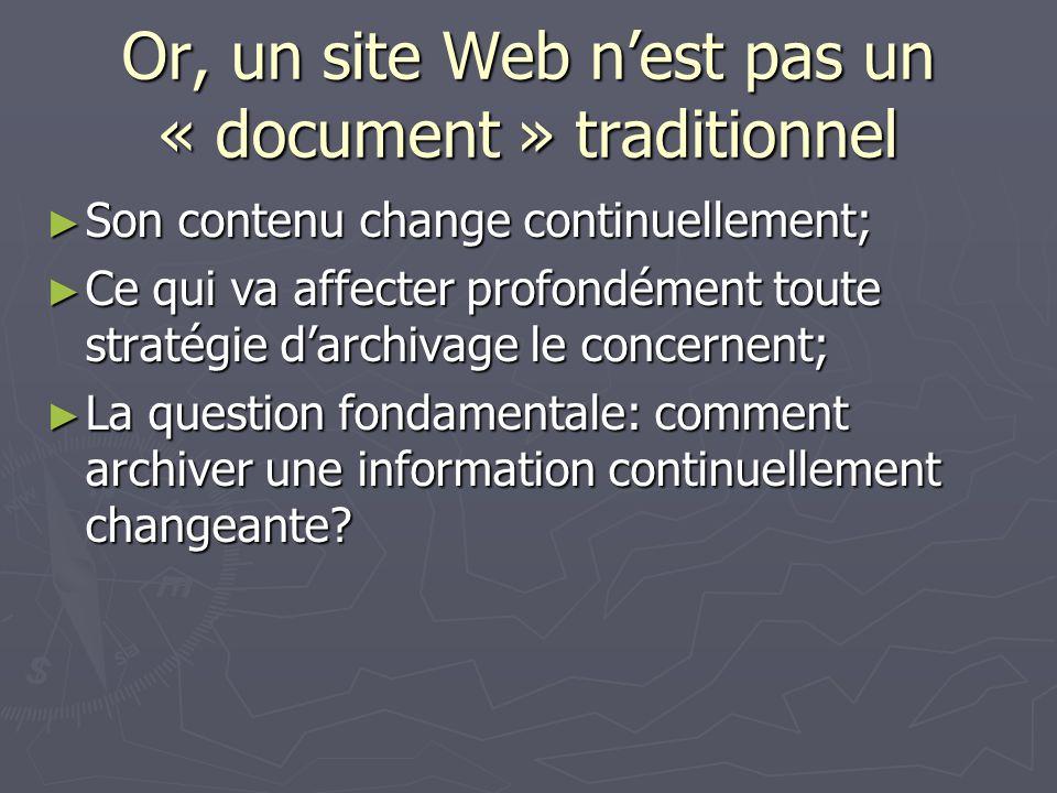 Or, un site Web nest pas un « document » traditionnel Son contenu change continuellement; Son contenu change continuellement; Ce qui va affecter profo