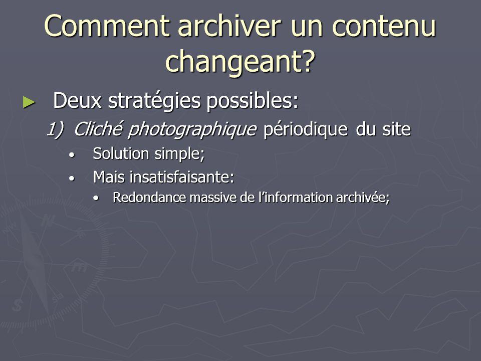 Comment archiver un contenu changeant.