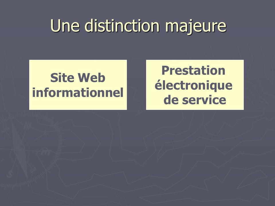 Une distinction majeure Site Web informationnel Prestation électronique de service