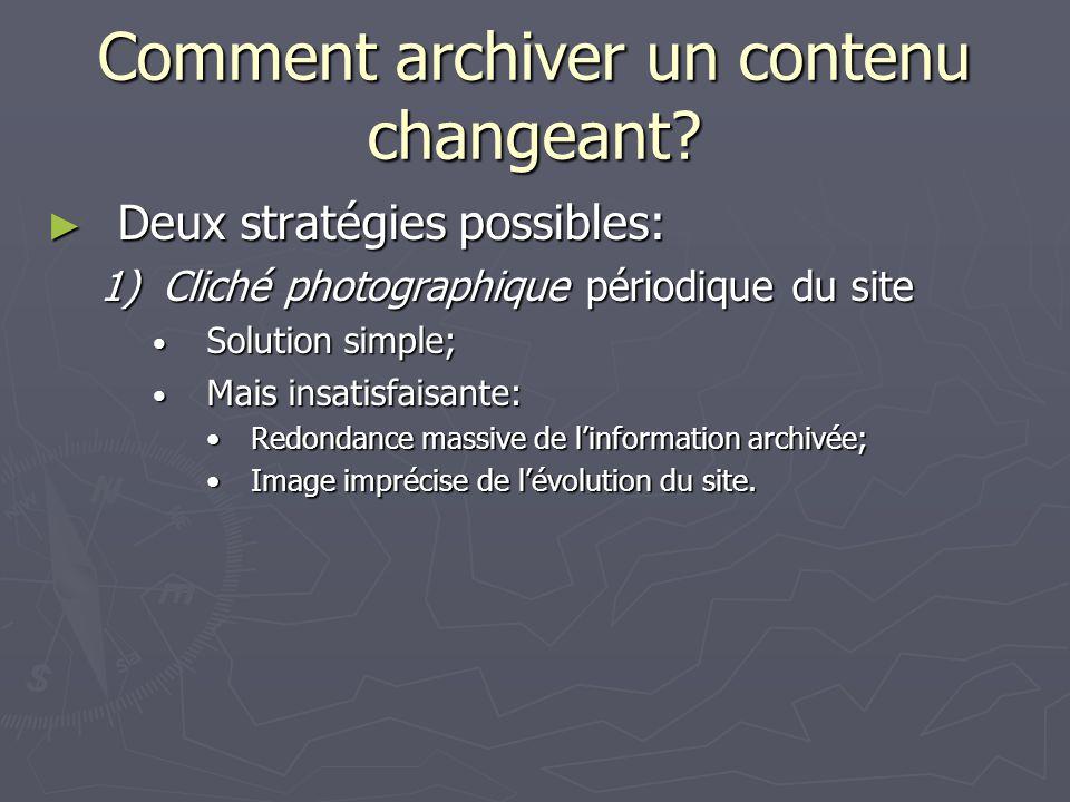 Comment archiver un contenu changeant? Deux stratégies possibles: Deux stratégies possibles: 1)Cliché photographique périodique du site Solution simpl