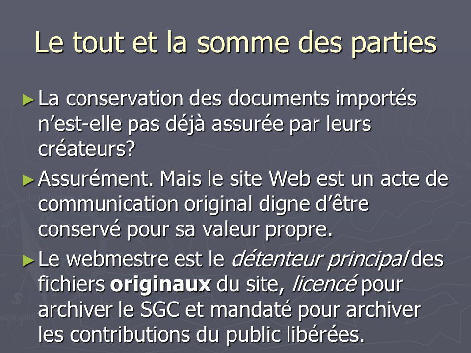 Le tout et la somme des parties La conservation des documents importés nest-elle pas déjà assurée par leurs créateurs? La conservation des documents i