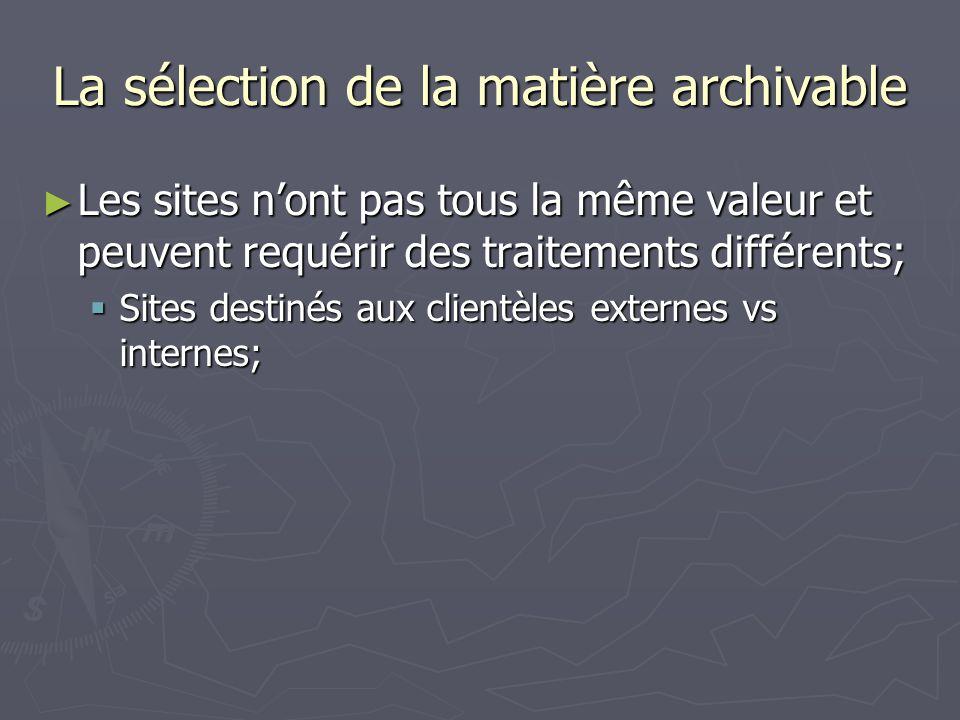 La sélection de la matière archivable Les sites nont pas tous la même valeur et peuvent requérir des traitements différents; Les sites nont pas tous la même valeur et peuvent requérir des traitements différents; Sites destinés aux clientèles externes vs internes; Sites destinés aux clientèles externes vs internes;