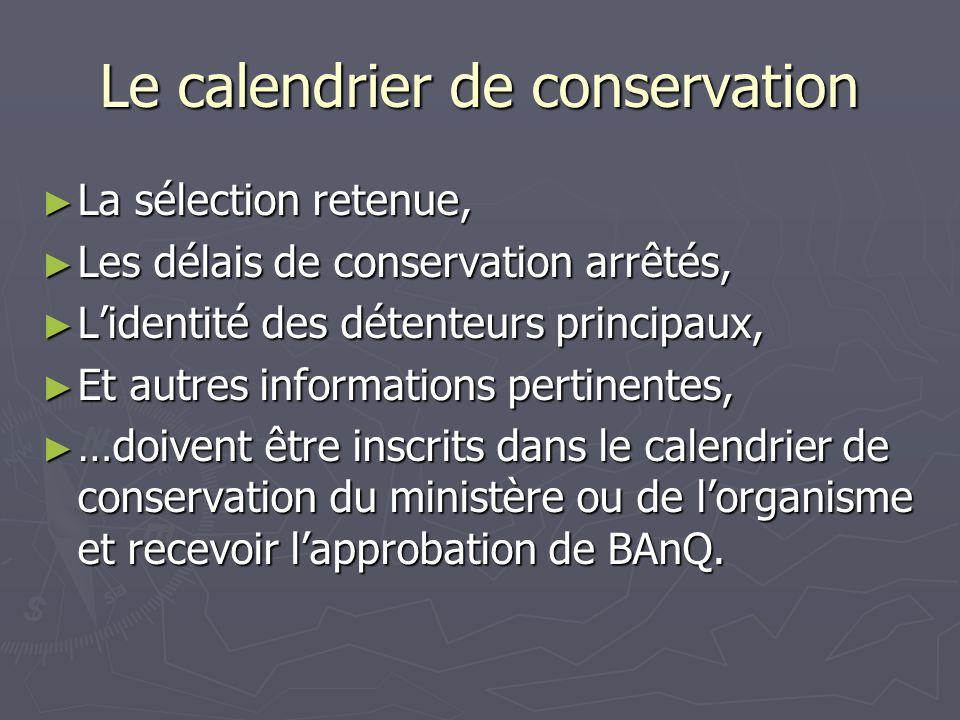 Le calendrier de conservation La sélection retenue, La sélection retenue, Les délais de conservation arrêtés, Les délais de conservation arrêtés, Lide