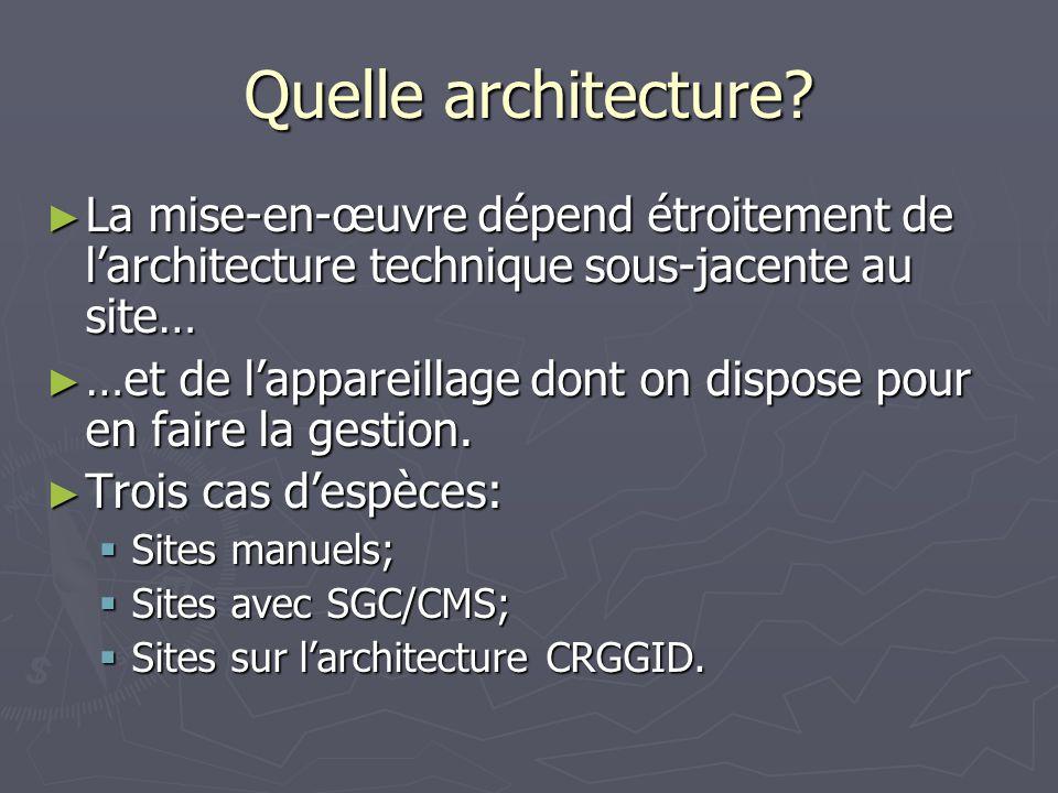 Quelle architecture? La mise-en-œuvre dépend étroitement de larchitecture technique sous-jacente au site… La mise-en-œuvre dépend étroitement de larch