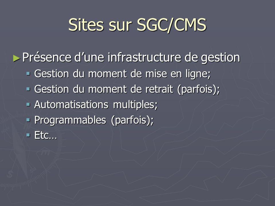 Sites sur SGC/CMS Présence dune infrastructure de gestion Présence dune infrastructure de gestion Gestion du moment de mise en ligne; Gestion du moment de mise en ligne; Gestion du moment de retrait (parfois); Gestion du moment de retrait (parfois); Automatisations multiples; Automatisations multiples; Programmables (parfois); Programmables (parfois); Etc… Etc…
